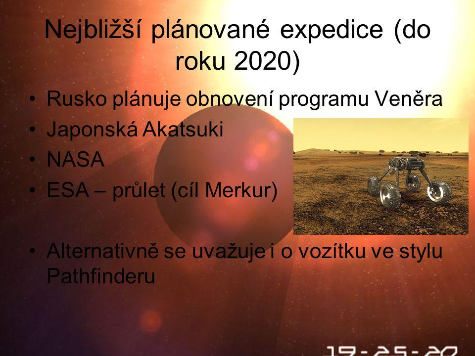 Nejbližší plánované expedice (do roku 2020)