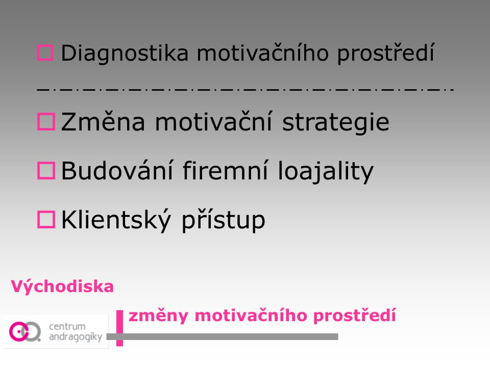 Změna motivační strategie Budování firemní loajality Klientský přístup