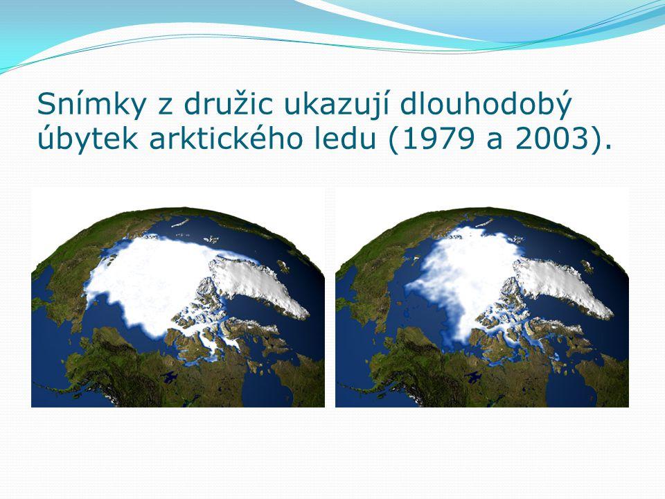 Snímky z družic ukazují dlouhodobý úbytek arktického ledu (1979 a 2003).