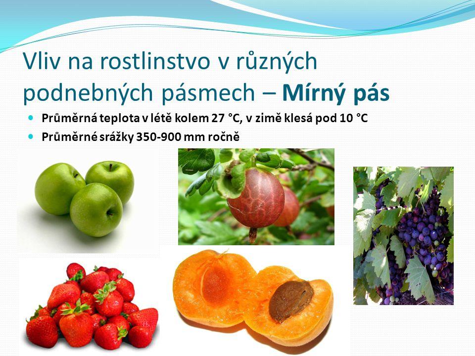 Vliv na rostlinstvo v různých podnebných pásmech – Mírný pás