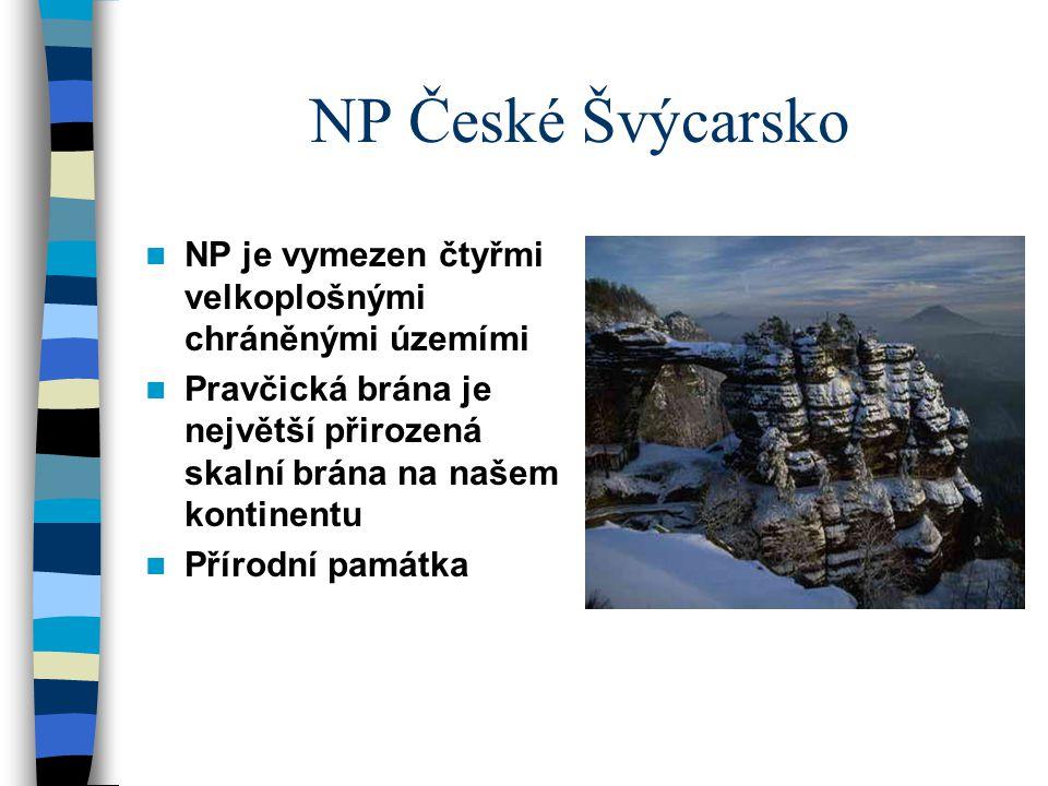 NP České Švýcarsko NP je vymezen čtyřmi velkoplošnými chráněnými územími. Pravčická brána je největší přirozená skalní brána na našem kontinentu.