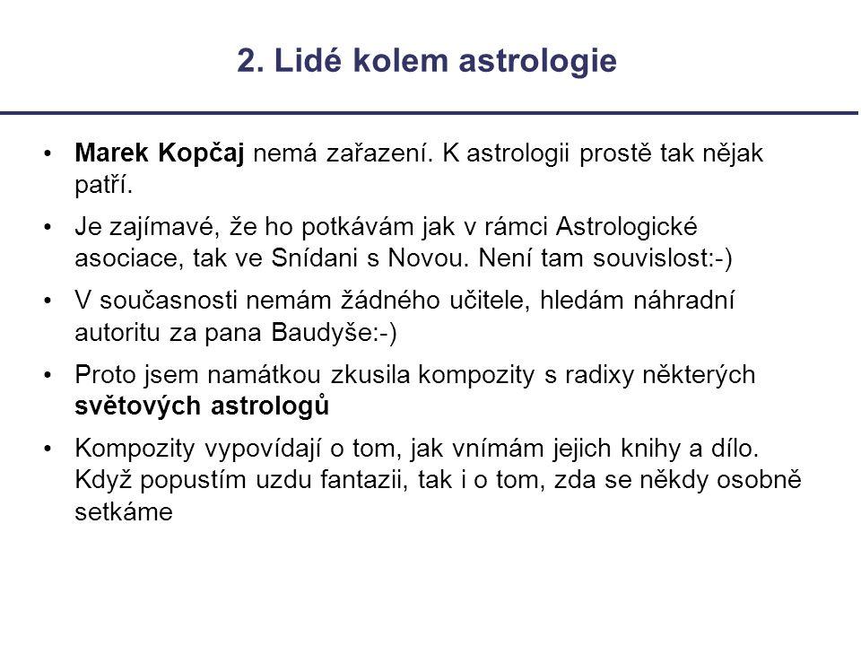 2. Lidé kolem astrologie Marek Kopčaj nemá zařazení. K astrologii prostě tak nějak patří.