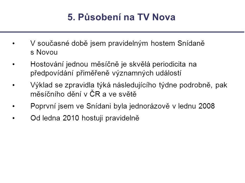 5. Působení na TV Nova V současné době jsem pravidelným hostem Snídaně s Novou.