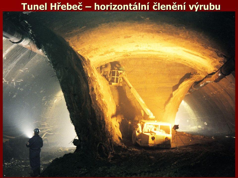 Tunel Hřebeč – horizontální členění výrubu