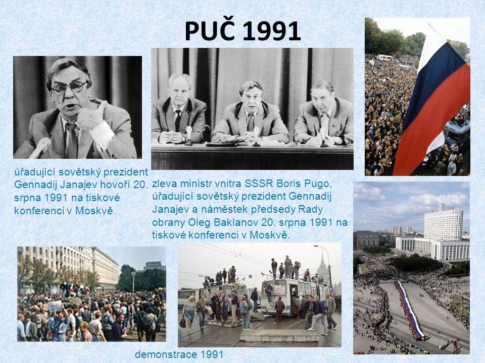 PUČ 1991 úřadující sovětský prezident Gennadij Janajev hovoří 20. srpna 1991 na tiskové konferenci v Moskvě.