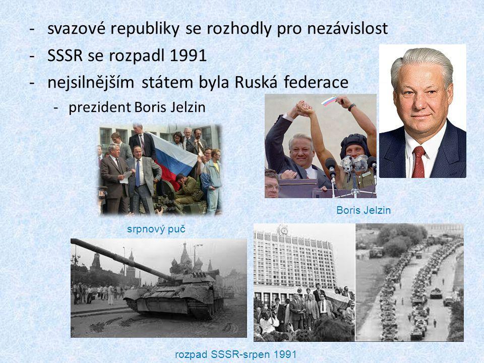 svazové republiky se rozhodly pro nezávislost SSSR se rozpadl 1991