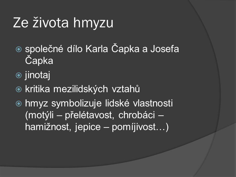 Ze života hmyzu společné dílo Karla Čapka a Josefa Čapka jinotaj