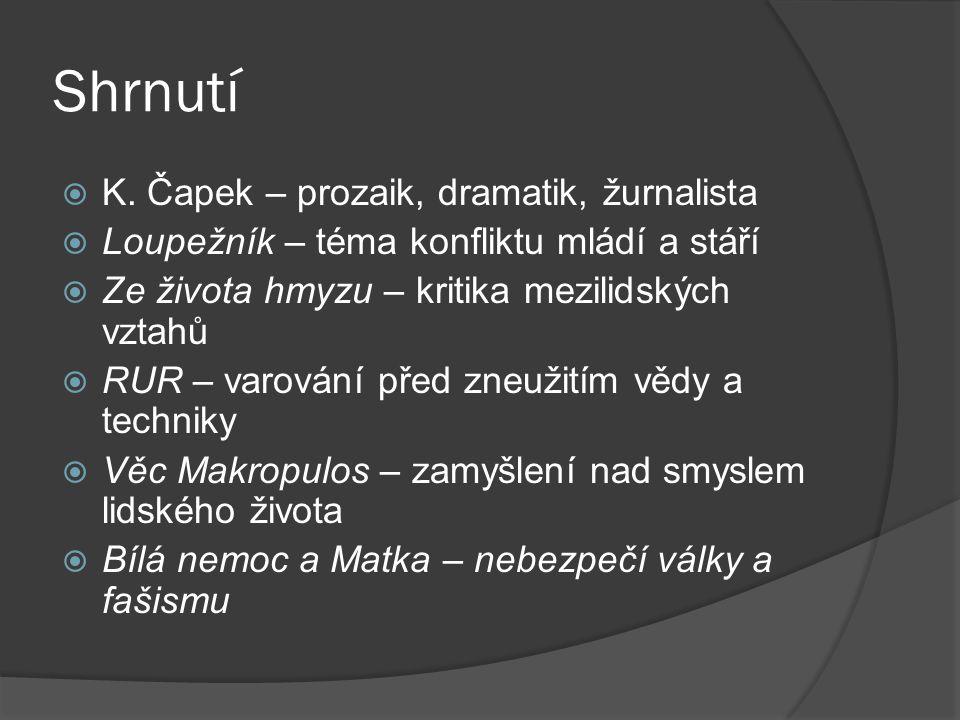 Shrnutí K. Čapek – prozaik, dramatik, žurnalista