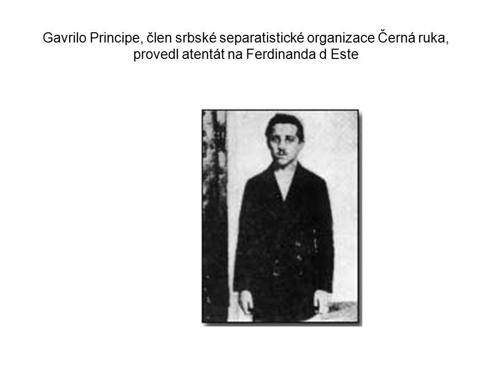 Gavrilo Principe, člen srbské separatistické organizace Černá ruka, provedl atentát na Ferdinanda d Este