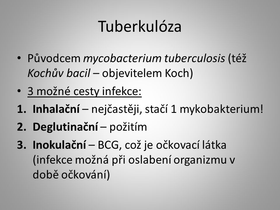 Tuberkulóza Původcem mycobacterium tuberculosis (též Kochův bacil – objevitelem Koch) 3 možné cesty infekce: