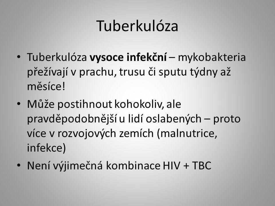 Tuberkulóza Tuberkulóza vysoce infekční – mykobakteria přežívají v prachu, trusu či sputu týdny až měsíce!