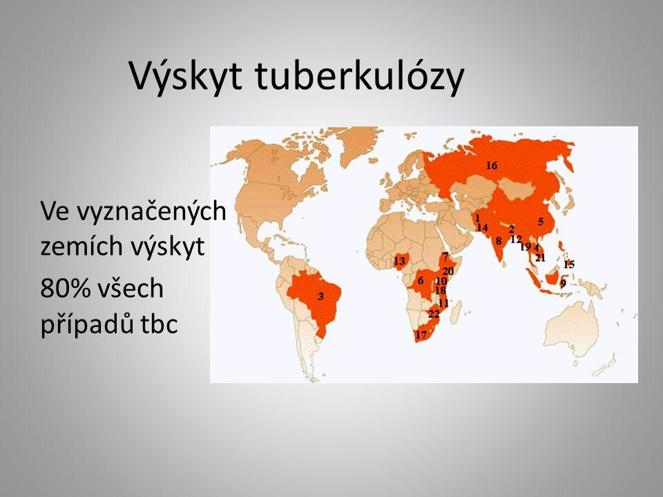 Výskyt tuberkulózy Ve vyznačených zemích výskyt 80% všech případů tbc