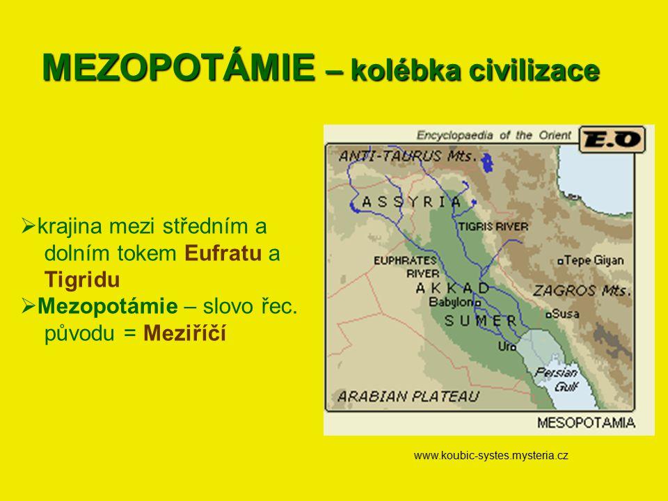 MEZOPOTÁMIE – kolébka civilizace