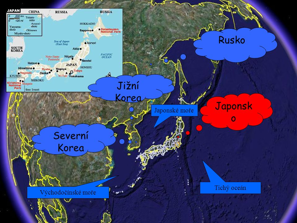 Rusko Jižní Korea Japonsko Severní Korea Japonské moře Tichý oceán