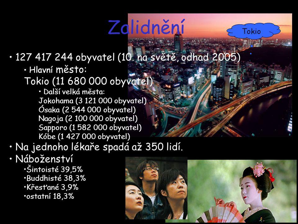 Zalidnění 127 417 244 obyvatel (10. na světě, odhad 2005)