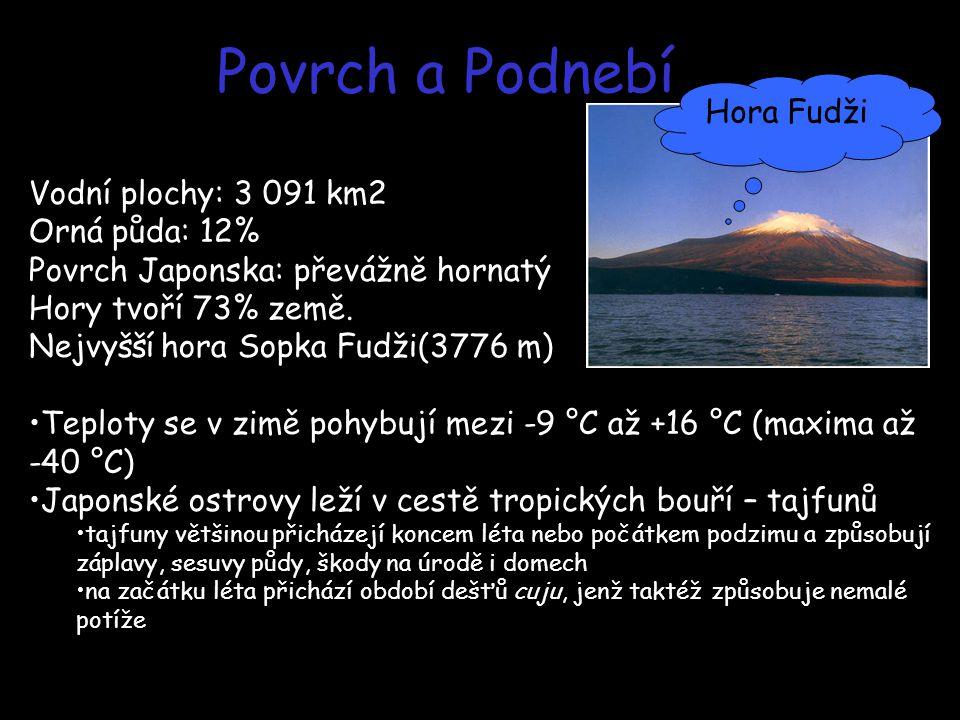Povrch a Podnebí Hora Fudži Vodní plochy: 3 091 km2 Orná půda: 12%