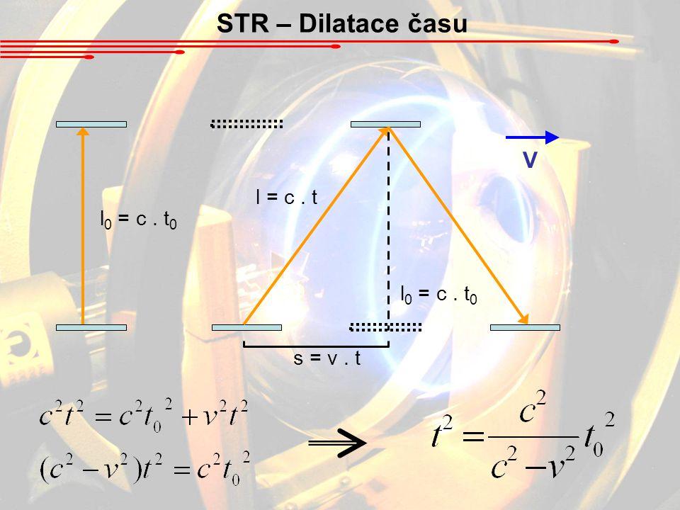 STR – Dilatace času V l = c . t l0 = c . t0 l0 = c . t0 s = v . t