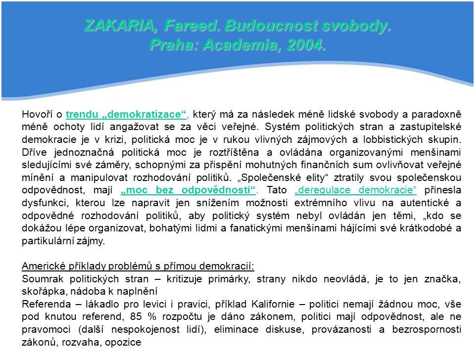 ZAKARIA, Fareed. Budoucnost svobody. Praha: Academia, 2004.