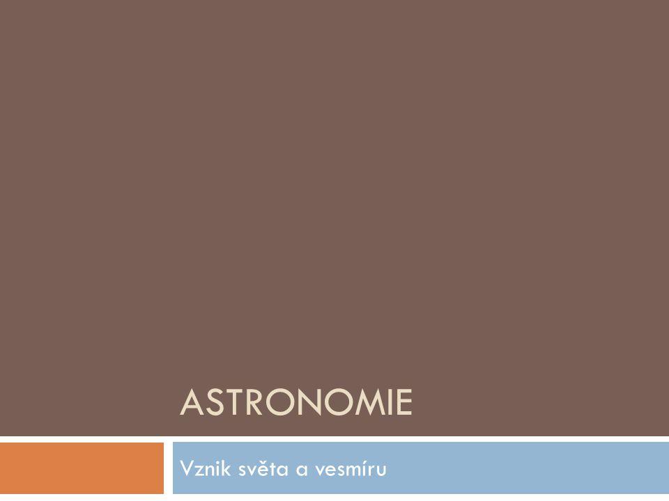 Astronomie Vznik světa a vesmíru