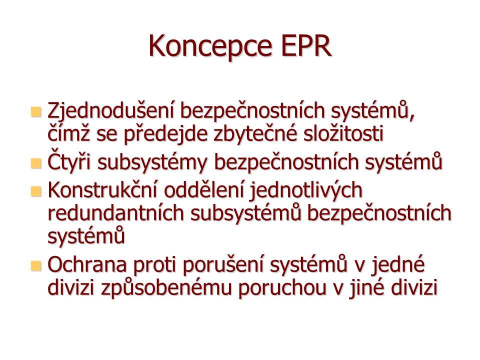 Koncepce EPR Zjednodušení bezpečnostních systémů, čímž se předejde zbytečné složitosti. Čtyři subsystémy bezpečnostních systémů.