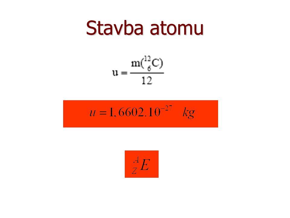 Stavba atomu Hmotnostní nukleonové číslo: Atomové číslo:
