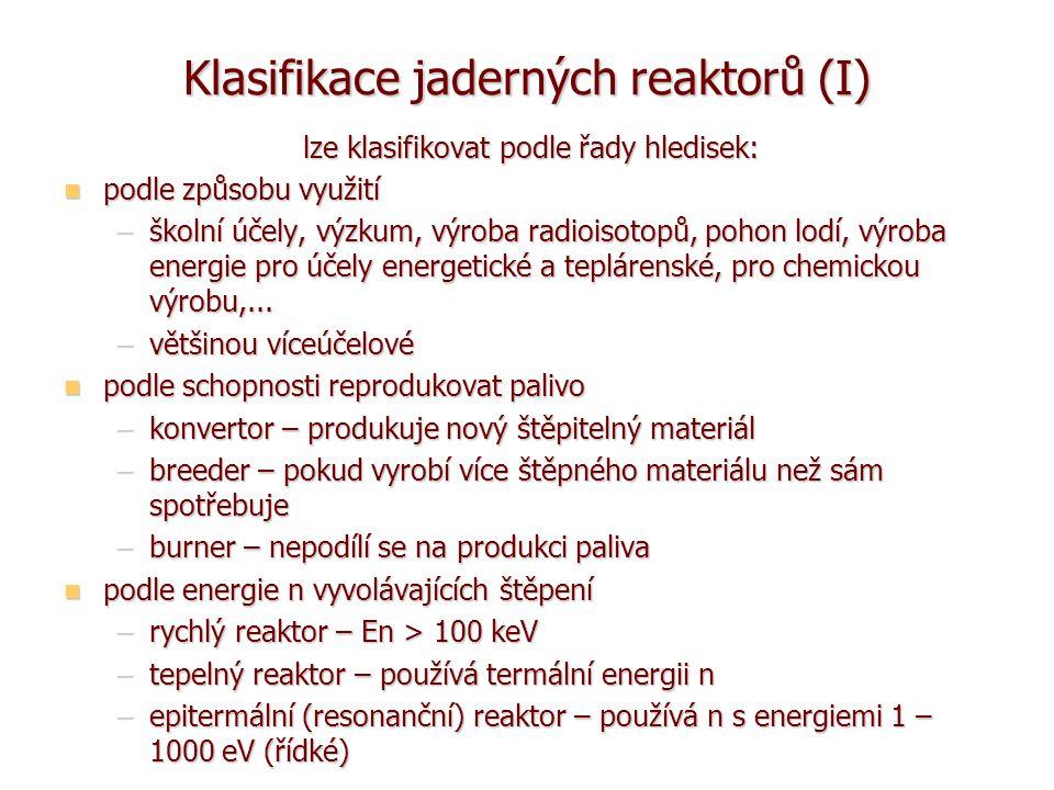 Klasifikace jaderných reaktorů (I)