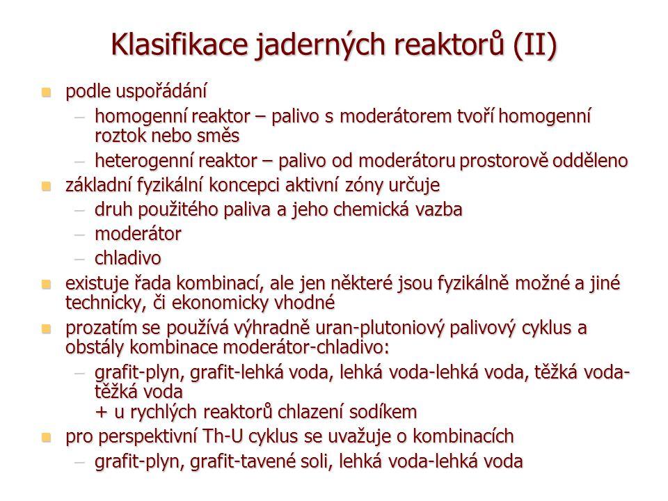 Klasifikace jaderných reaktorů (II)