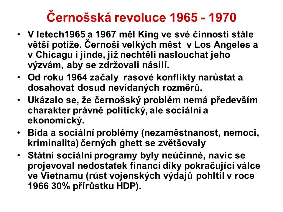 Černošská revoluce 1965 - 1970