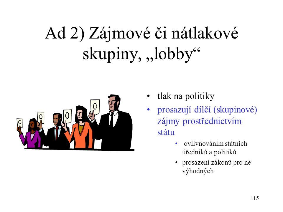 """Ad 2) Zájmové či nátlakové skupiny, """"lobby"""