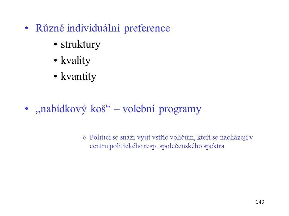 Různé individuální preference struktury kvality kvantity