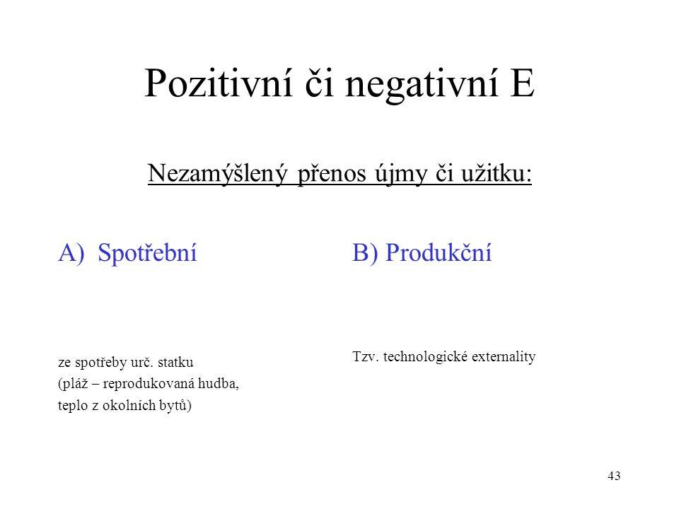 Pozitivní či negativní E Nezamýšlený přenos újmy či užitku: