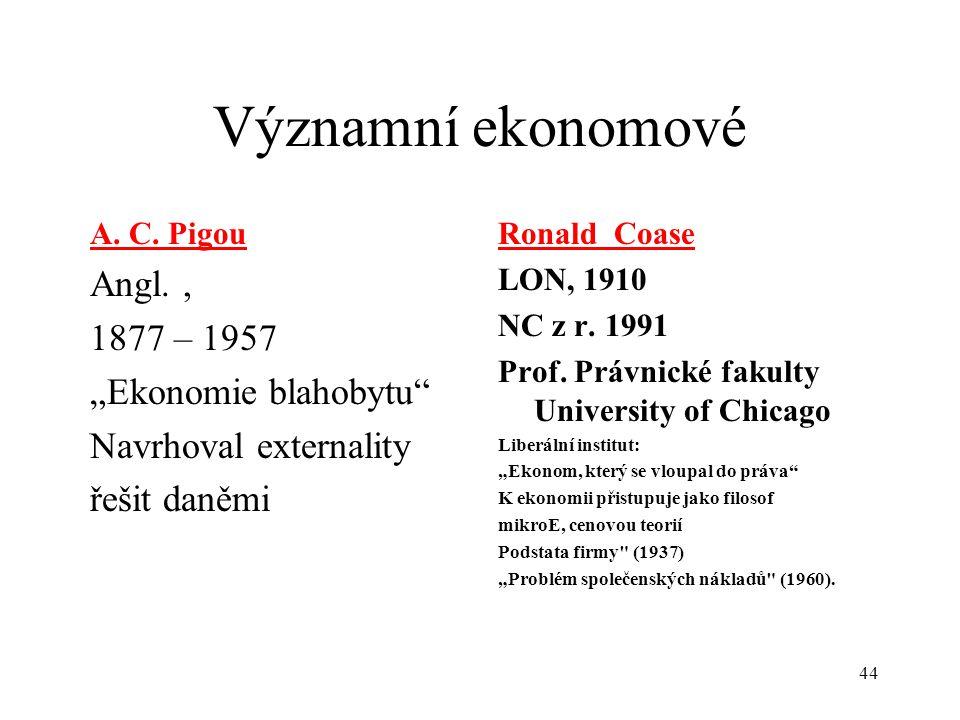 """Významní ekonomové Angl. , 1877 – 1957 """"Ekonomie blahobytu"""