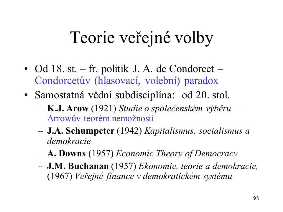 Teorie veřejné volby Od 18. st. – fr. politik J. A. de Condorcet – Condorcetův (hlasovací, volební) paradox.