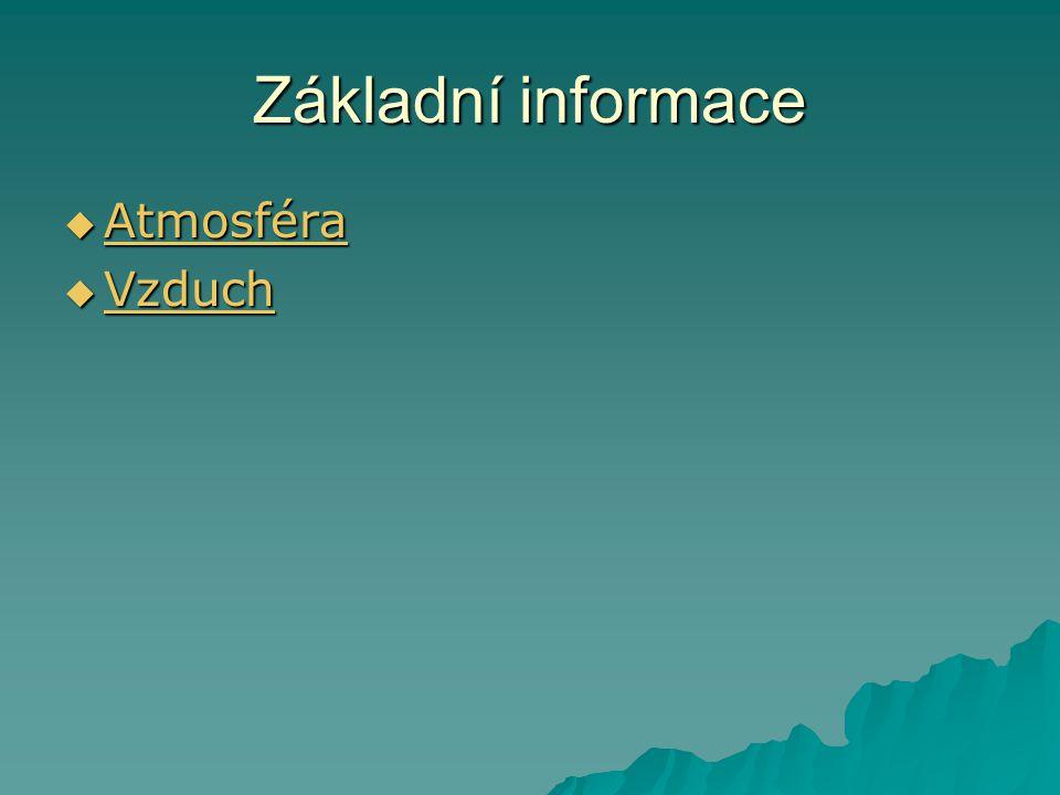 Základní informace Atmosféra Vzduch
