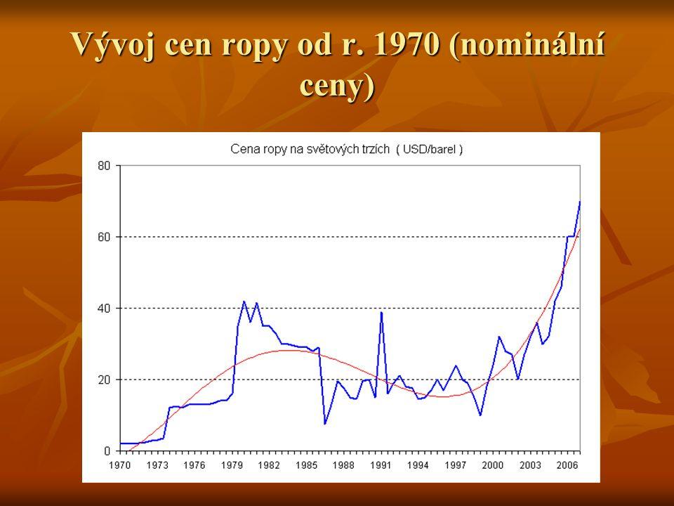 Vývoj cen ropy od r. 1970 (nominální ceny)