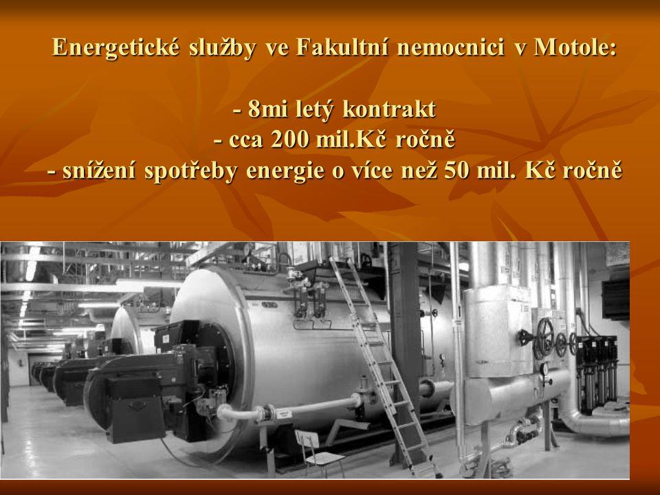 Energetické služby ve Fakultní nemocnici v Motole: - 8mi letý kontrakt - cca 200 mil.Kč ročně - snížení spotřeby energie o více než 50 mil.