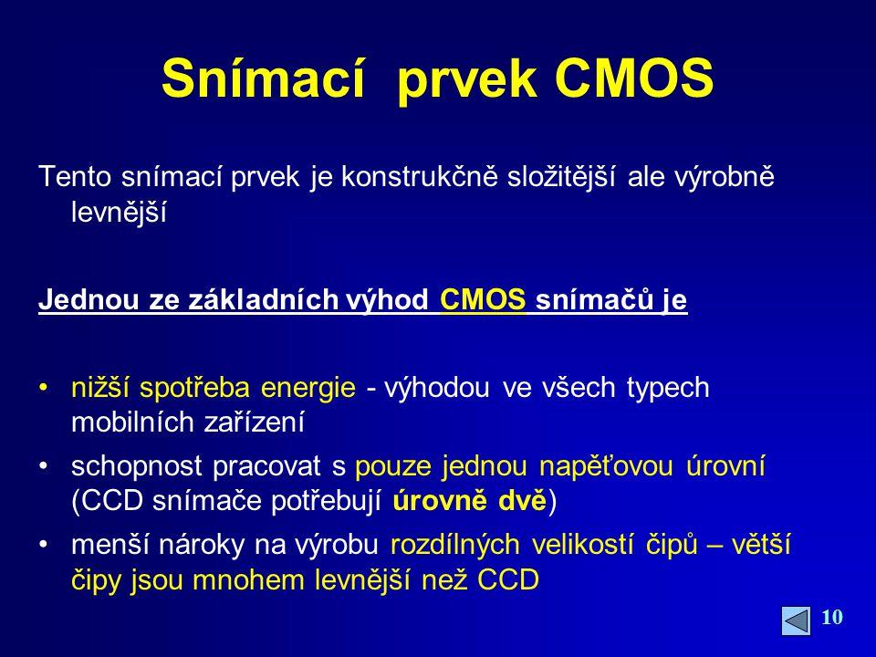 Snímací prvek CMOS Tento snímací prvek je konstrukčně složitější ale výrobně levnější. Jednou ze základních výhod CMOS snímačů je.