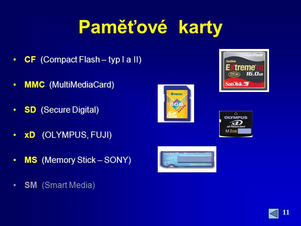 Paměťové karty CF (Compact Flash – typ I a II) MMC (MultiMediaCard)
