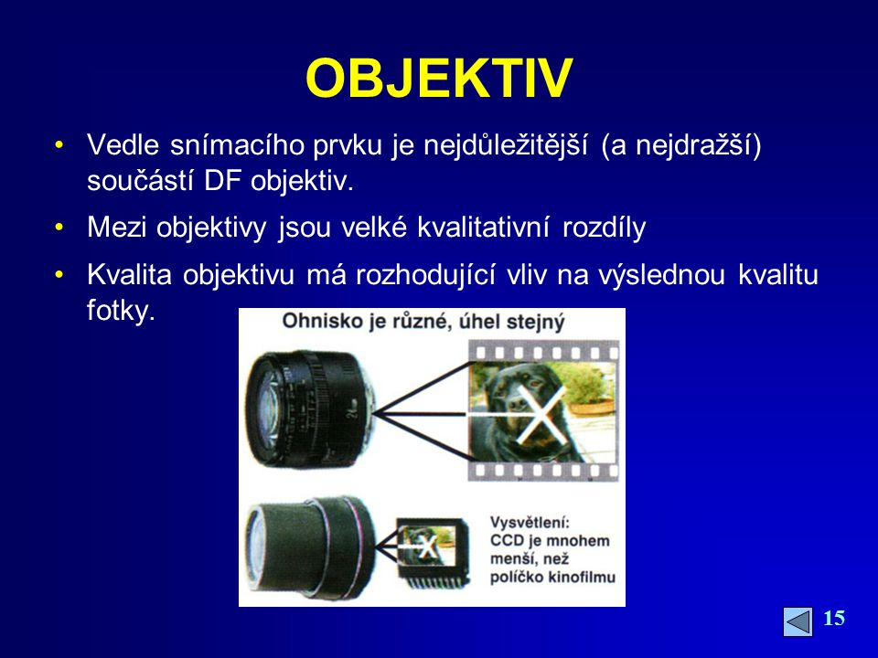 OBJEKTIV Vedle snímacího prvku je nejdůležitější (a nejdražší) součástí DF objektiv. Mezi objektivy jsou velké kvalitativní rozdíly.