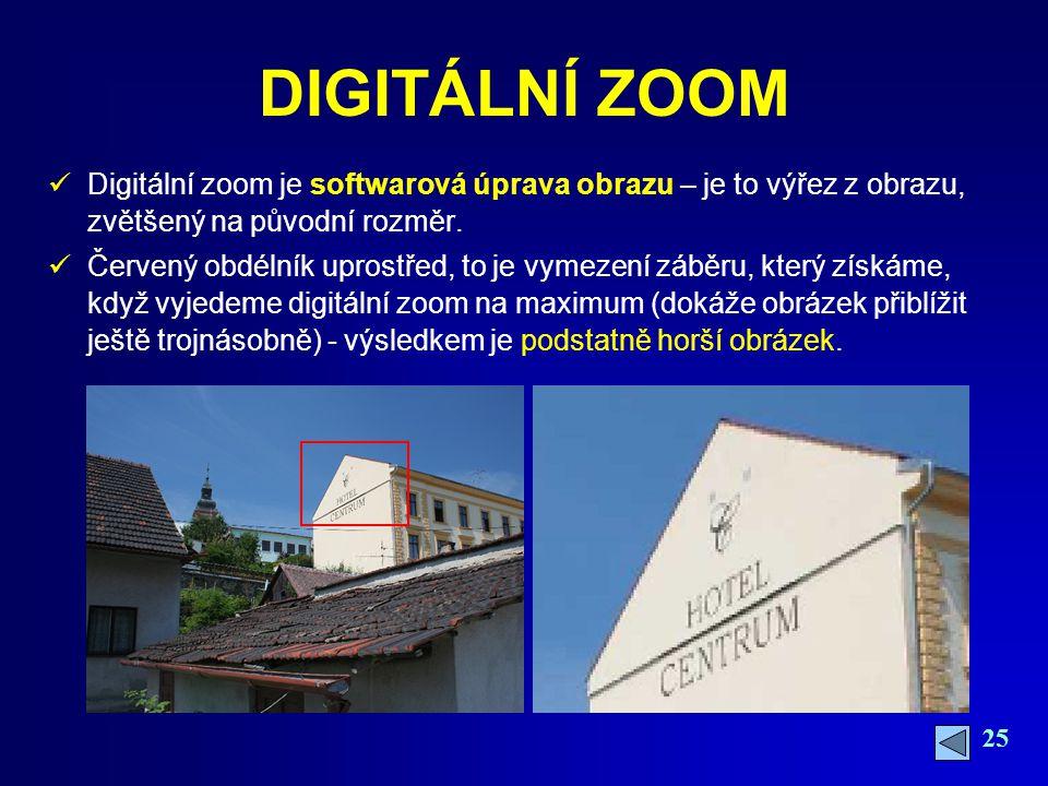 DIGITÁLNÍ ZOOM Digitální zoom je softwarová úprava obrazu – je to výřez z obrazu, zvětšený na původní rozměr.