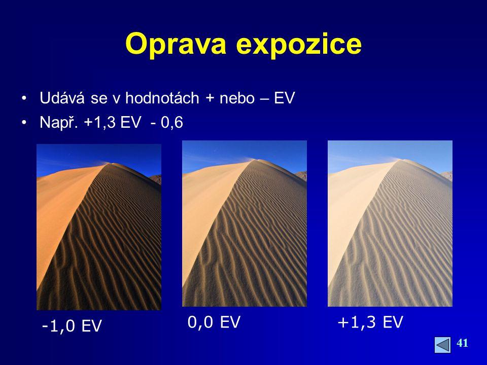 Oprava expozice Udává se v hodnotách + nebo – EV Např. +1,3 EV - 0,6