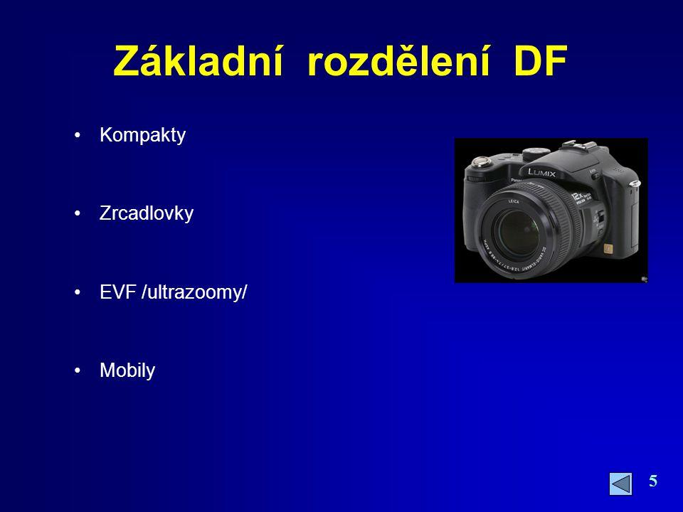 Základní rozdělení DF Kompakty Zrcadlovky EVF /ultrazoomy/ Mobily