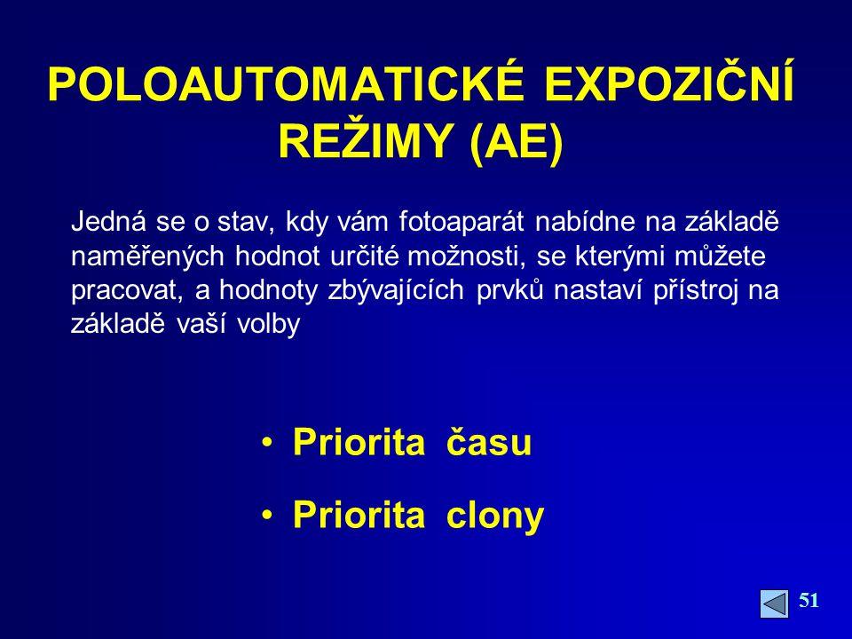 POLOAUTOMATICKÉ EXPOZIČNÍ REŽIMY (AE)