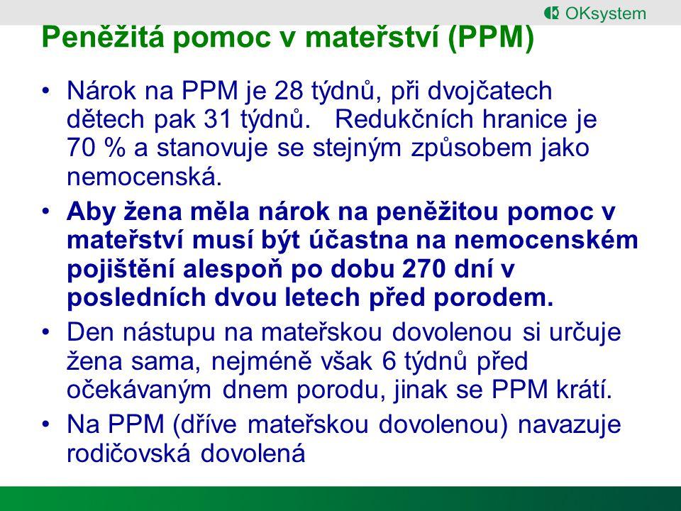 Peněžitá pomoc v mateřství (PPM)
