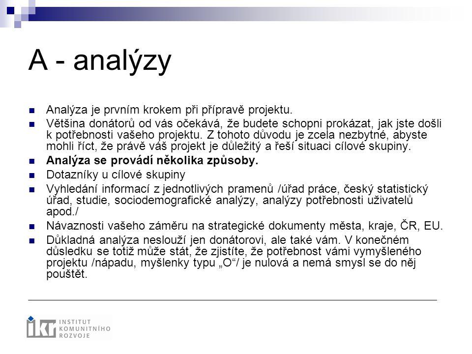 A - analýzy Analýza je prvním krokem při přípravě projektu.