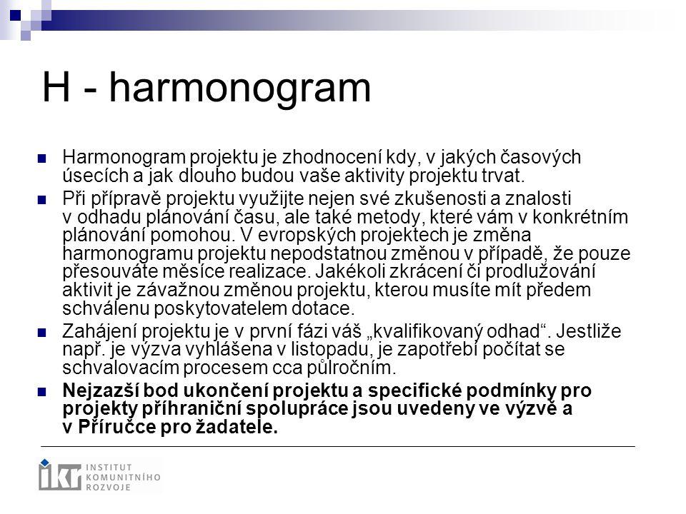 H - harmonogram Harmonogram projektu je zhodnocení kdy, v jakých časových úsecích a jak dlouho budou vaše aktivity projektu trvat.