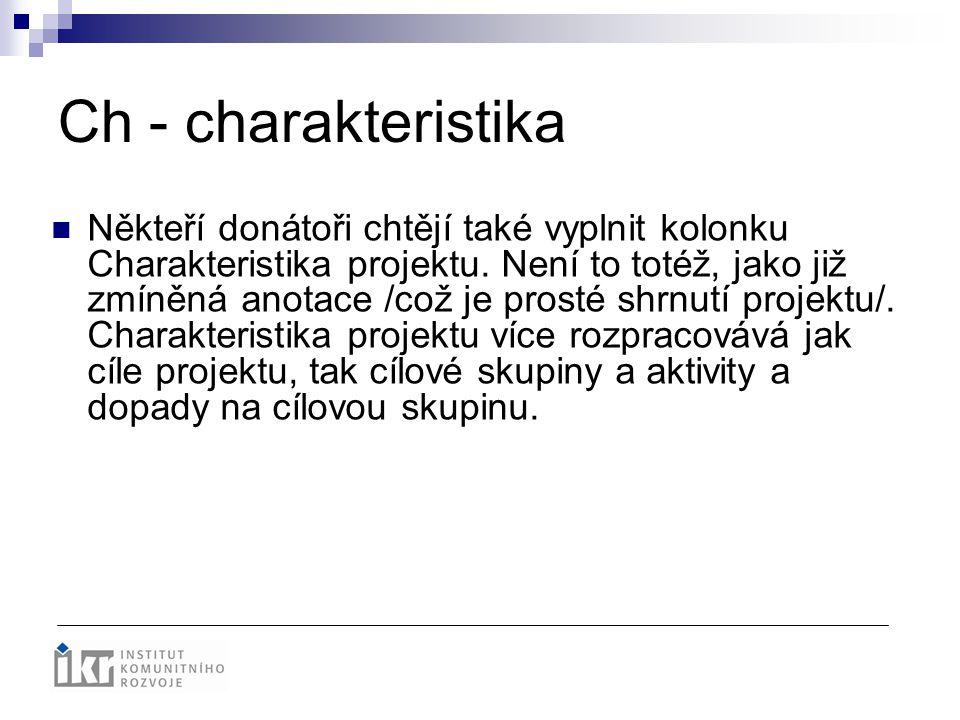 Ch - charakteristika