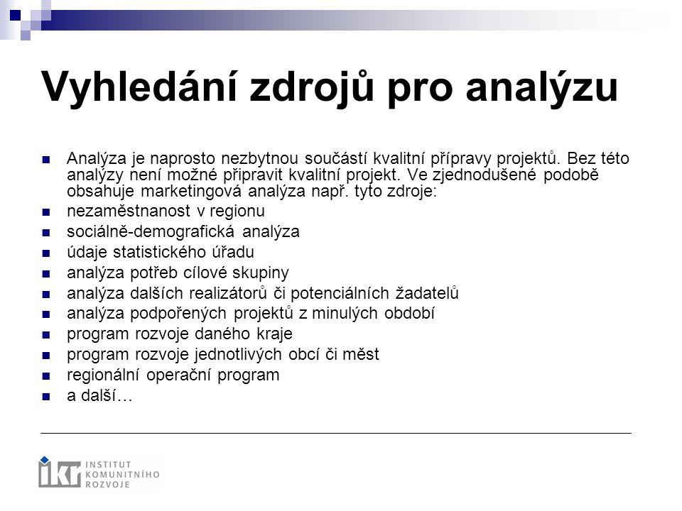 Vyhledání zdrojů pro analýzu