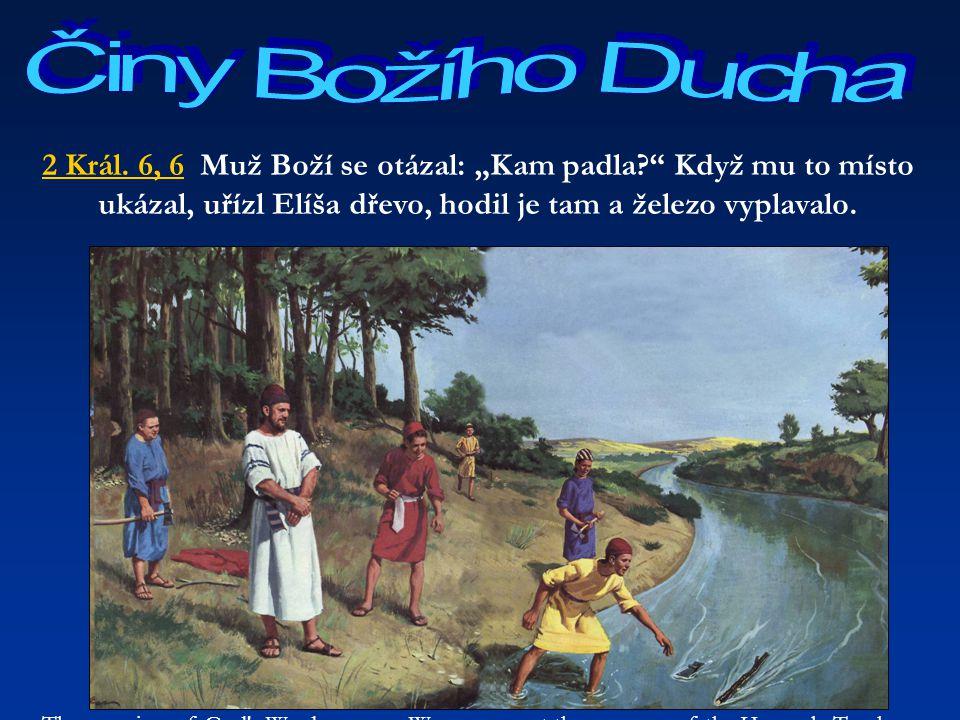 """Činy Božího Ducha 2 Král. 6, 6 Muž Boží se otázal: """"Kam padla Když mu to místo ukázal, uřízl Elíša dřevo, hodil je tam a železo vyplavalo."""