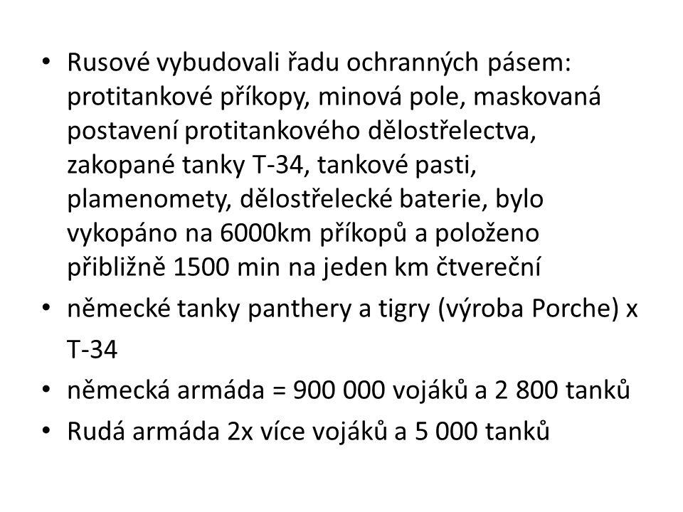 Rusové vybudovali řadu ochranných pásem: protitankové příkopy, minová pole, maskovaná postavení protitankového dělostřelectva, zakopané tanky T-34, tankové pasti, plamenomety, dělostřelecké baterie, bylo vykopáno na 6000km příkopů a položeno přibližně 1500 min na jeden km čtvereční